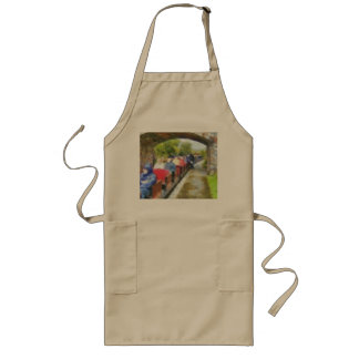 Toy train and adult passengers long apron
