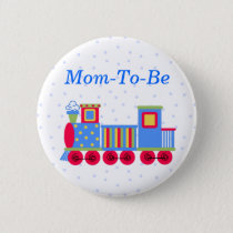 Toy Train Baby Shower Mommy Pin Button
