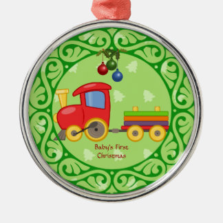 Toy Train, Baby's First Christmas Round Metal Christmas Ornament