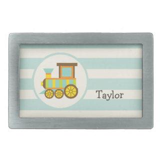 Toy Train; Brown, Orange, Yellow, Teal, Blue Belt Buckles