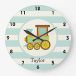 Toy Train; Brown, Orange, Yellow, Teal, Blue Wall Clocks