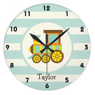 Toy Train; Brown, Orange, Yellow, Teal, Blue Clocks