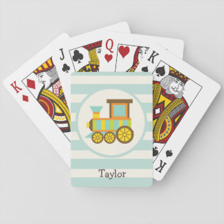 Toy Train; Brown, Orange, Yellow, Teal, Blue Playing Cards