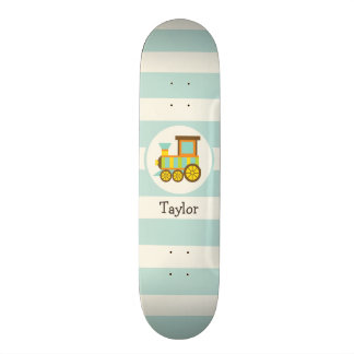 Toy Train; Brown, Orange, Yellow, Teal, Blue Skateboard Decks