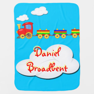 toy train customizable baby blanket blue