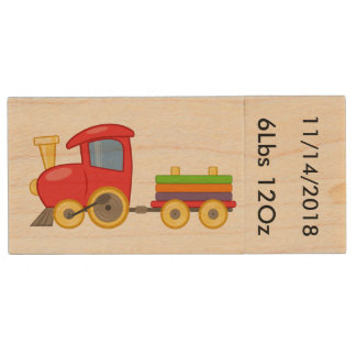 Toy Train Designed for New Baby Boy Wood Flash Drive
