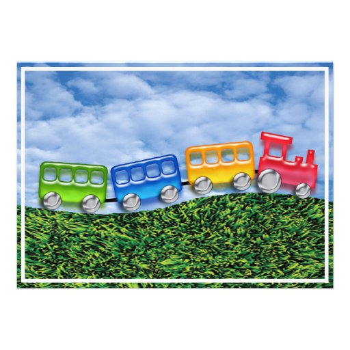 Toy Train in the Countryside Invite