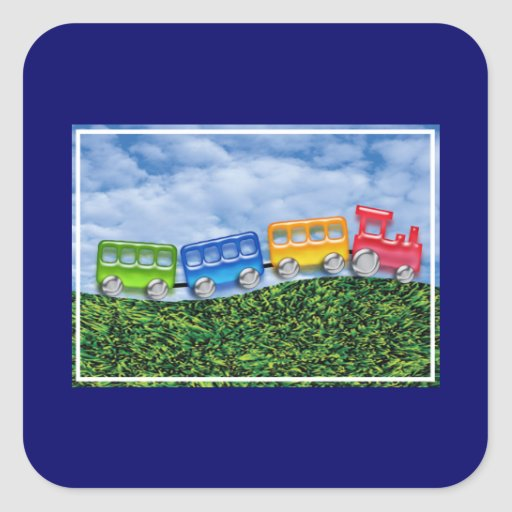 Toy Train in the Countryside Square Sticker