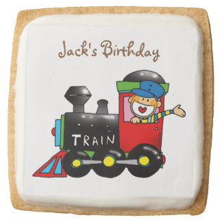 toy train kids birthday parties customized square shortbread cookie