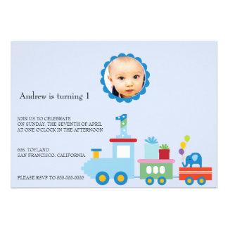 Toy Train-Kids Birthday party invitation blue