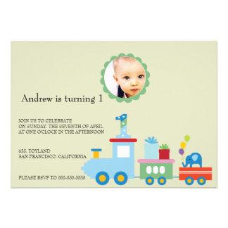 Toy Train-Kids Birthday party invitation green