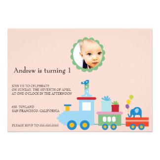 Toy Train-Kids Birthday party invitation pink