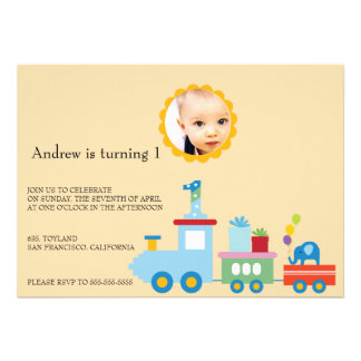 Toy Train-Kids Birthday party invitation yellow