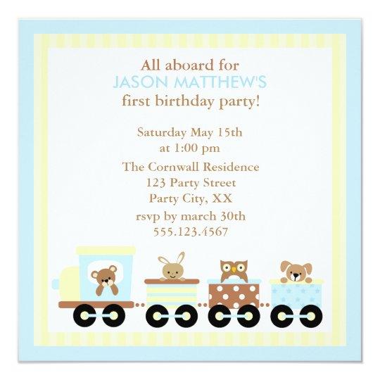 Toy Train Kids Birthday Party Invitations