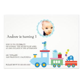 Toy Train - Kids photo Birthday party invitations