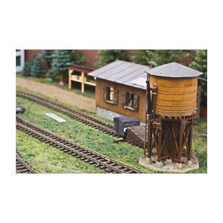 Toy Train Platform Water Tower Canvas Print