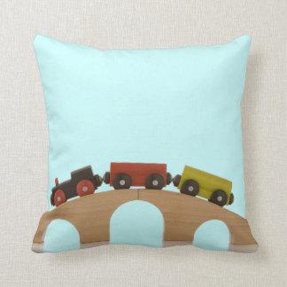 Toy Train Throw Pillow (Blue)