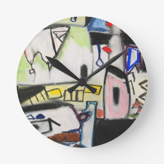 Toy Wars (primitive expressionism) Round Wall Clocks