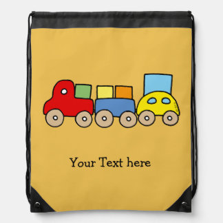toy wooden train - name customized drawstring backpack