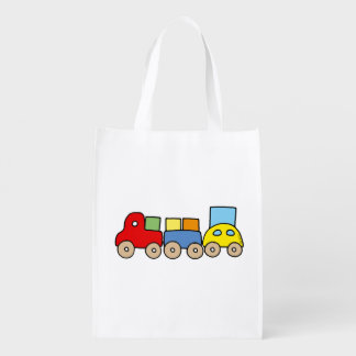toy wooden train reusable grocery bag
