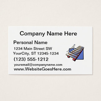 Toy xylophone with mallets, blue graphic business card