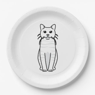 Toyger Cat Cartoon 9 Inch Paper Plate