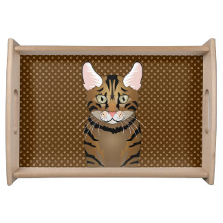 Toyger Cat Cartoon Paws Food Trays