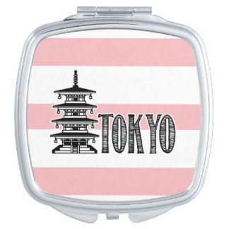 Toyko, Pink and White Custom Compact Makeup Mirror