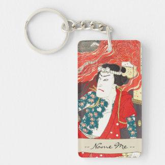 Toyohara Kunichika: Kabuki - bombero tatuado Llavero Rectangular Acrílico A Doble Cara