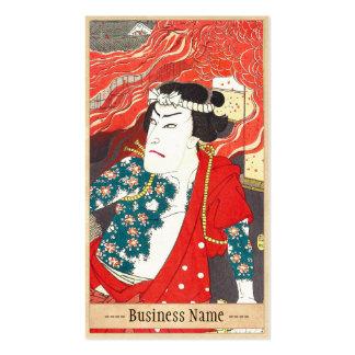 Toyohara Kunichika: Kabuki - bombero tatuado Tarjetas De Visita
