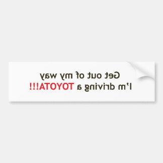 Toyota Warning Bumper Sticker
