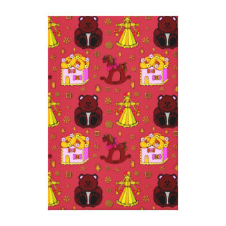 Toys – Golden Dolls & Chocolate Teddy Bears Gallery Wrapped Canvas