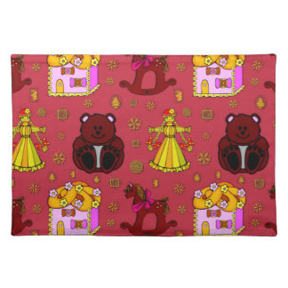 Toys - Golden Dolls & Chocolate Teddy Bears Cloth Placemat