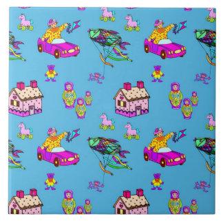 Toys – Pink Dollhouses & Turquoise Kites Ceramic Tile