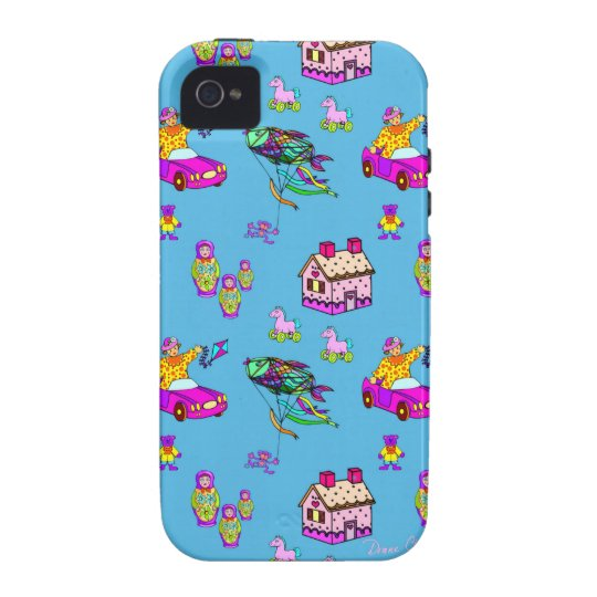 Toys – Pink Dollhouses & Turquoise Kites iPhone 4 Cover