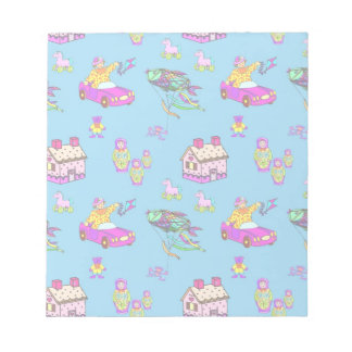 Toys – Pink Dollhouses & Turquoise Kites Memo Notepad