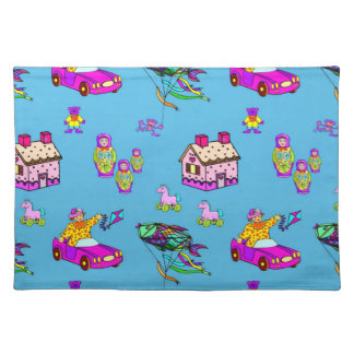 Toys - Pink Dollhouses & Turquoise Kites Cloth Placemat