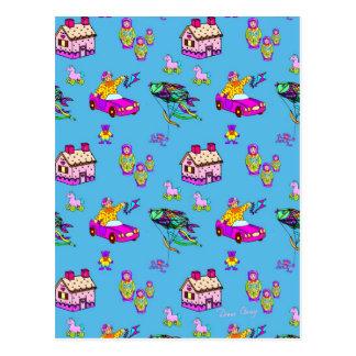 Toys – Pink Dollhouses & Turquoise Kites Postcard