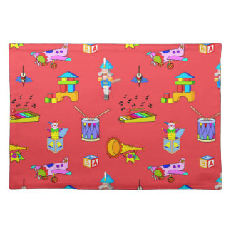 Toys - Purple Drums and Golden Horns Cloth Placemat