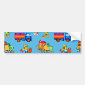 Toys - Red Trucks & Orange Trains Bumper Sticker