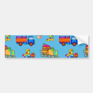 Toys - Red Trucks & Orange Trains Bumper Sticker