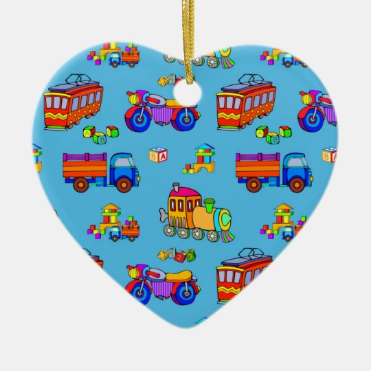 Toys - Red Trucks & Orange Trains Ceramic Ornament