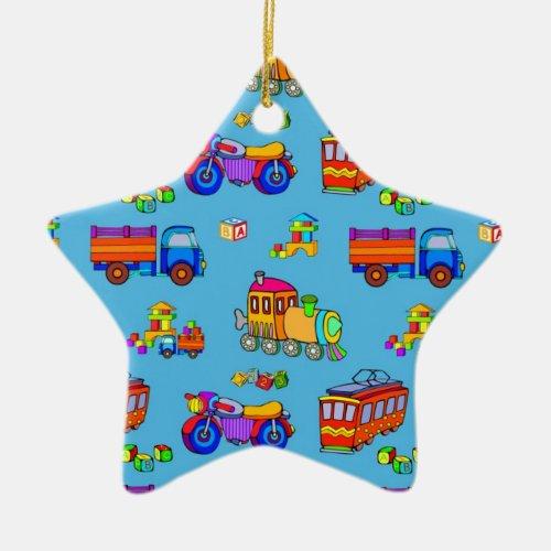 Toys - Red Trucks & Orange Trains Ceramic Ornament
