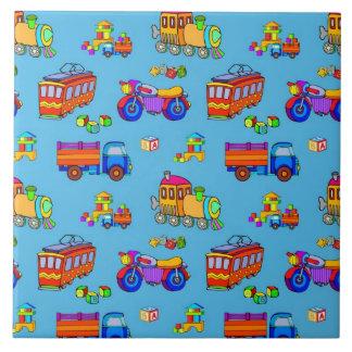 Toys - Red Trucks & Orange Trains Ceramic Tile