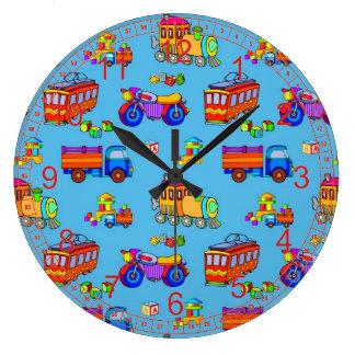 Toys - Red Trucks & Orange Trains Large Clock