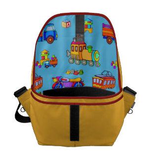 Toys - Red Trucks & Orange Trains Messenger Bags