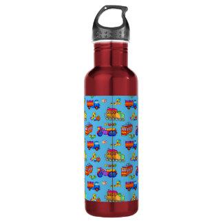 Toys - Red Trucks & Orange Trains 24oz Water Bottle