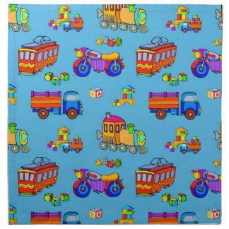 Toys - Red Trucks & Orange Trains Printed Napkin