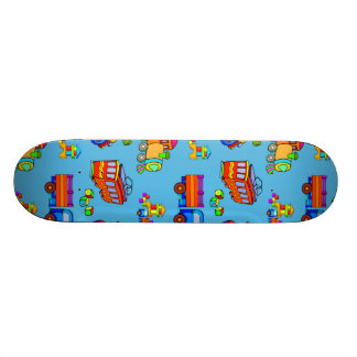 Toys - Red Trucks & Orange Trains Skateboard Deck