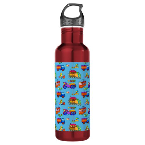 Toys - Red Trucks & Orange Trains Stainless Steel Water Bottle